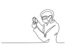 Scientist woman investigate solution in vitro in laboratory. Continuous line drawing. Vector illustration on white background