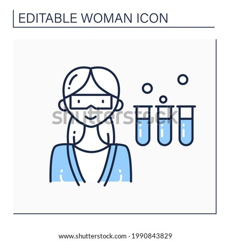Scientist woman line icon. Female chemist in coat with test tubes. Having chemical reagents. Dangerous career. Strong woman concept. Isolated vector illustration.Editable stroke Photo stock ©