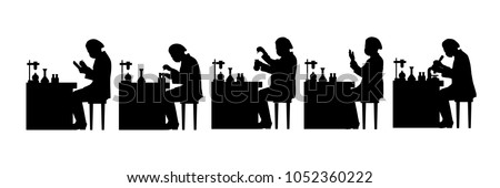 Scientist working in lab silhouette vector set
