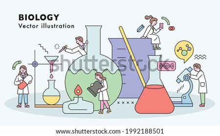 Scientists are doing scientific experiments and research together with huge experimental equipment. flat design style minimal vector illustration.