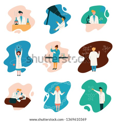 Scientists Characters Wearing White Coats Working at Researching Lab, Biologist Set, Physicist, Astronomer, Gene Engineer, Professor, Chemist, Scientific Research Concept Vector Illustration