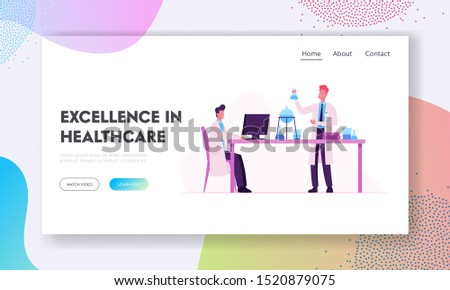 Scientists Conduct Experiments and Scientific Research in Laboratory Website Landing Page. Chemistry Technician Hold Test Tube, Professor Working on Pc Web Page Banner. Flat Vector Illustration