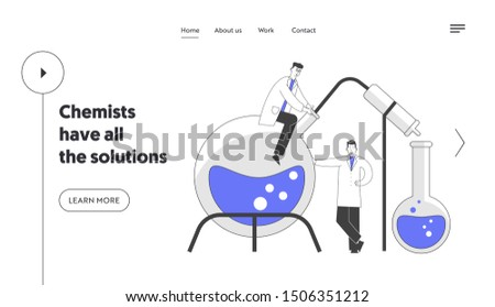 Scientists Conducting Experiments in Science Laboratory Website Landing Page. Male Characters Researchers in Chemical Lab Scientific Research Web Page Banner. Flat Vector Illustration, Line Art