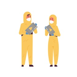 scientists couple holding barrels with warning sign man woman in protective suits working with dangerous chemicals research science chemical concept full length