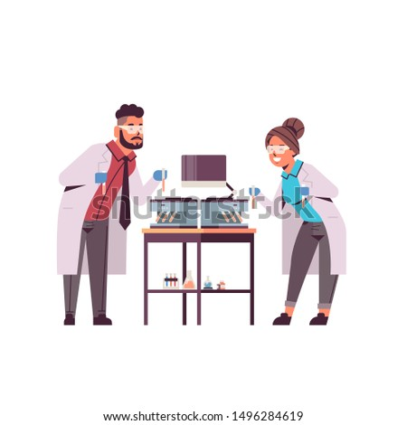 scientists couple holding test tubes with blood samples man woman in uniform using analyzer medical machine laboratory research science medicine concept full length flat