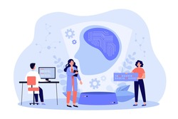 Scientists creating artificial intelligence, writing codes, programming machine learning. Vector illustration for data science, computer technology, ai concept