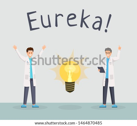 Scientists discovery flat banner template. Happy researchers excitement with raised index finger, eureka gesture cartoon characters. Lab workers having new idea, making breakthrough