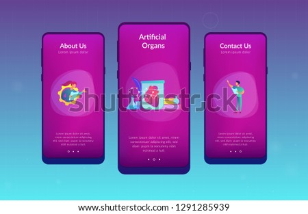 Scientists growing big heart in test tube in laboratory. Lab-grown organs, bioartificial organs and artificial organ concept on white background. Mobile UI UX GUI template, app interface wireframe