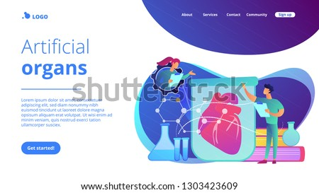 Scientists growing big heart in test tube in laboratory. Lab-grown organs, bioartificial organs and artificial organ concept on white background. Website vibrant violet landing web page template.