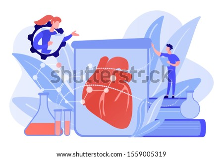 Scientists growing big heart in test tube in laboratory. Lab-grown organs, bioartificial organs and artificial organ concept on white background. Pinkish coral bluevector isolated illustration