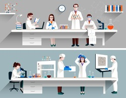 Scientists in lab concept with males and females making research vector illustration