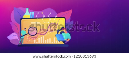 Scientists looking at DNA and charts with magnifier on laptop. Biotechnology, biological systems, bio-engineering concept on white background. Header or footer banner template with copy space.