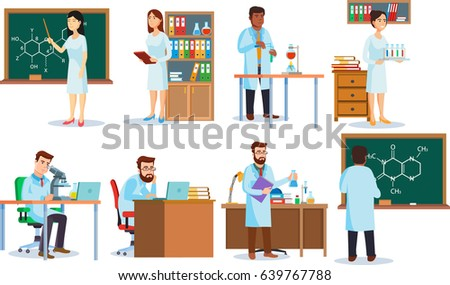 Scientists making research and experiments. Templates of laboratory`s interior in flat style. Education and science concept. Isolated. Vector.