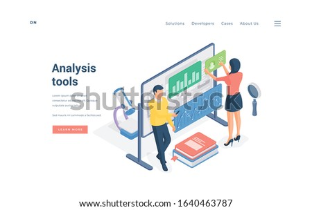 Scientists using various analysis tools. Isometric man and woman examining data on whiteboard and using various analysis tools for scientific researches on website banner