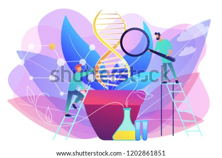 Scientists with magnifier looking at huge DNA in the pot. Genetically modified plants, GM crops and biotech crops concept on white background. Bright vibrant violet vector isolated illustration