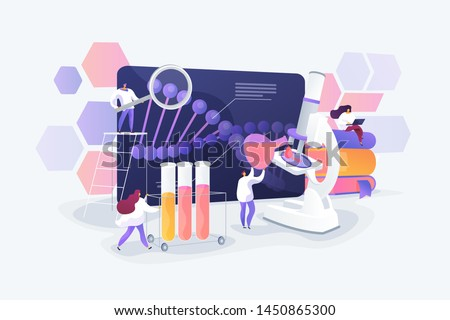 Scientists working with DNA. Doctors doing laboratory research. Medicine and technology. Genetic testing, DNA testing, genetic diagnosis concept. Vector isolated concept creative illustration
