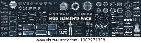 Scifi futuristic HUD, GUI, UI interface set for game and VR design. Virtual reality graphic box, big set futuristic elements. UI - charts, digital circle, earth global, 3D body and other HUD elements