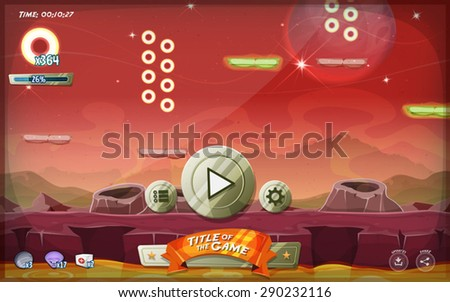 Scifi Platform Game User Interface For Tablet/ Illustration of a platform game user interface, in cartoon style with basic buttons and icons for tablet pc, on seamless scifi alien planet landscape