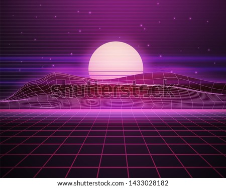 Scifi virtual reality landscape in 80s digital retrofuturistic style. Vector cyberpunk illustration with purple grid floor, mountains, sun  and stars. Arcade videogame with neon laser grid. Synthwave,
