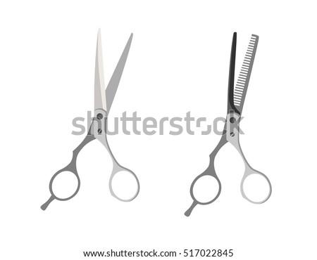 Scissor vector illustration and scissor vector office tool. Scissor vector simplicity haircut dividing and hair work steel hairdresser. Hairdresser style accessories, hairdryer