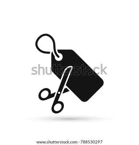 Scissors are cutting price tag as a discount symbol. Vector icon Stockfoto ©