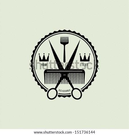 scissors  brush and comb icon...