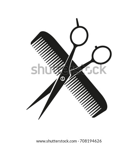 Scissors, comb sign. Vector.