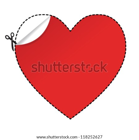 Scissors cut heart shape sticker. Vector illustration.