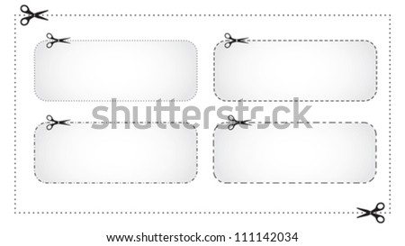 Scissors cut marks, different dotted lines, coupon border