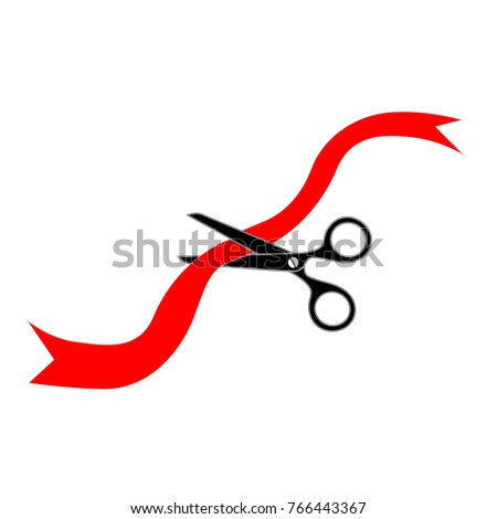 Scissors cutting a red ribbon. Isolated vector on white background.