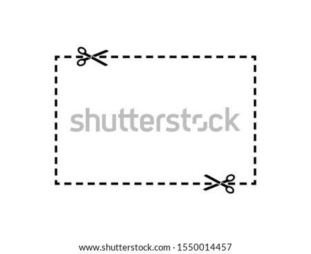 Scissors dotted cut line square. Scissors cut line element vector isolated. Scissor vector icon template. Voucher discount. Sticker symbol. White background. EPS 10