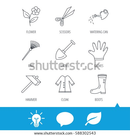 Scissors, hammer and gloves icons. Shovel, watering can and rake linear signs. Cloak, boots and flower flat line icons. Light bulb, speech bubble and leaf web icons. Vector