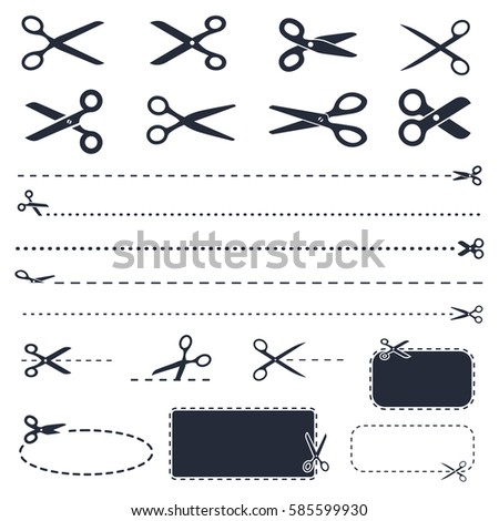 scissors icons and coupons with cut line, discount coupons with scissors