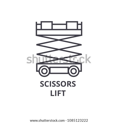 scissors lift vector line icon, sign, illustration on background, editable strokes