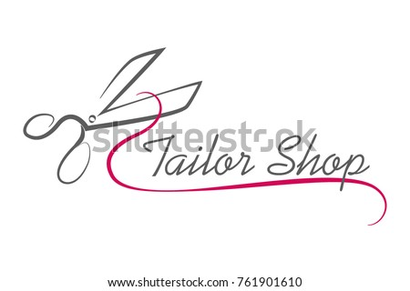 scissors logo, badge, design, atelier.Tailor Shop. Vector