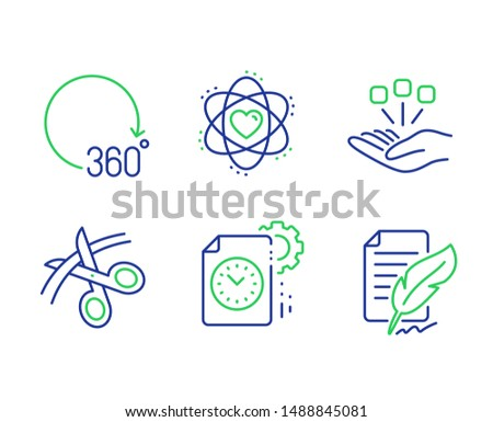 Scissors, Project deadline and 360 degrees line icons set. Atom, Consolidation and Feather signature signs. Cutting ribbon, Time management, Full rotation. Electron. Science set. Vector