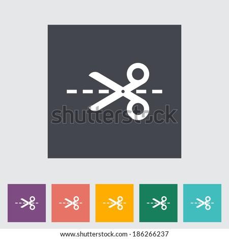 Scissors. Single flat icon on the button. Vector illustration.