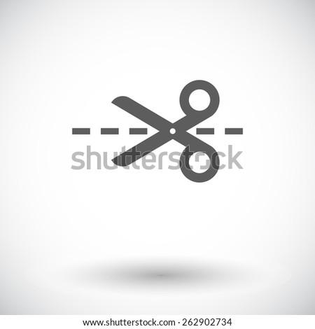 scissors single flat icon on
