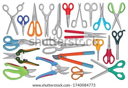 Scissors vector cartoon set icon. Vector illustration scissor equipment on white background. Isolated cartoon set icon scissors.