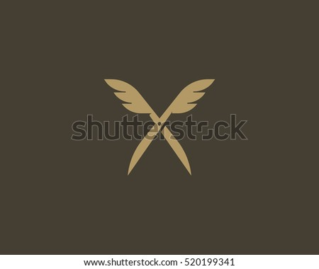 scissors wings logo design