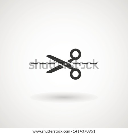 Scissors with cut lines icon. Cutting scissors icon. Vector illustration. Isolated on white background. Web design element.