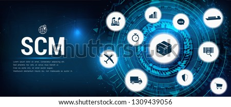 SCM - Supply Chain Management, Aspects of Modern Company Logistics Processes, business challenges design – company symbol with various business facets