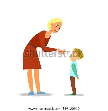 Scold children.The mother scolds the poor boy. illustration of flat design. ストックフォト ©