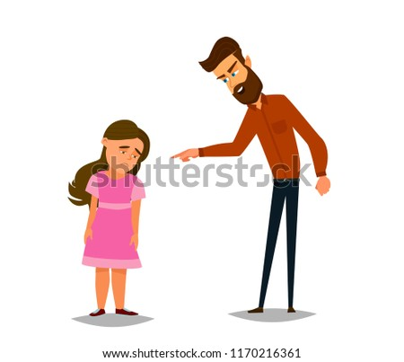 Scold the children. The father scolds the unfortunate girl. Vector illustration in flat style.