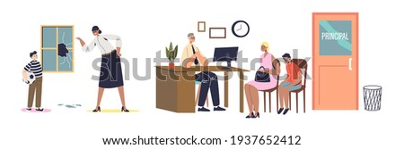 Scolding pupils for bad behavior set of cartoon characters with school teacher screaming at kid and principal meeting with parents. Flat vector illustration ストックフォト ©