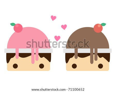 Scoop strawberry ice cream and Scoop chocolate ice cream in bowl. Vector illustration
