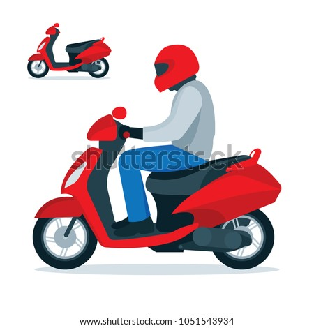 Scooter and scooter driver in helmet. Trendy electric scooter, isolated on white background. Flat style vector illustration.