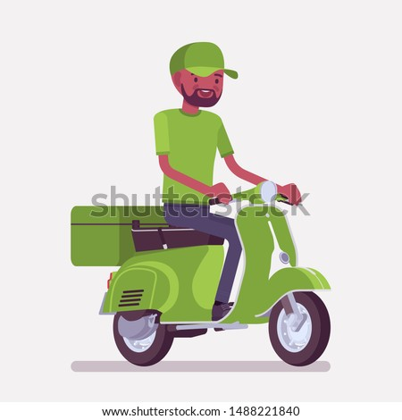 Scooter delivery black boy. Courier service worker delivers food, order or parcel to customer, online ordering express city shipping. Vector flat style cartoon illustration isolated, white background