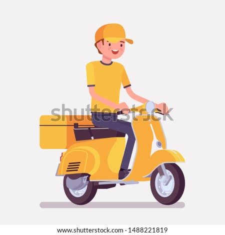 Scooter delivery boy. Courier service worker delivers food, order or parcel to customer, online ordering express city shipping. Vector flat style cartoon illustration isolated on white background