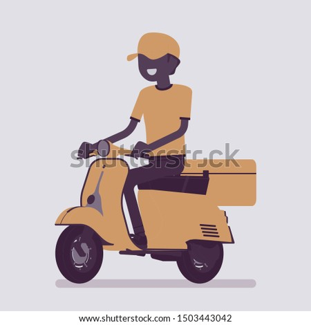 Scooter delivery boy. Courier service worker delivers food, order or parcel to customer, online ordering express city shipping. Vector illustration with faceless character